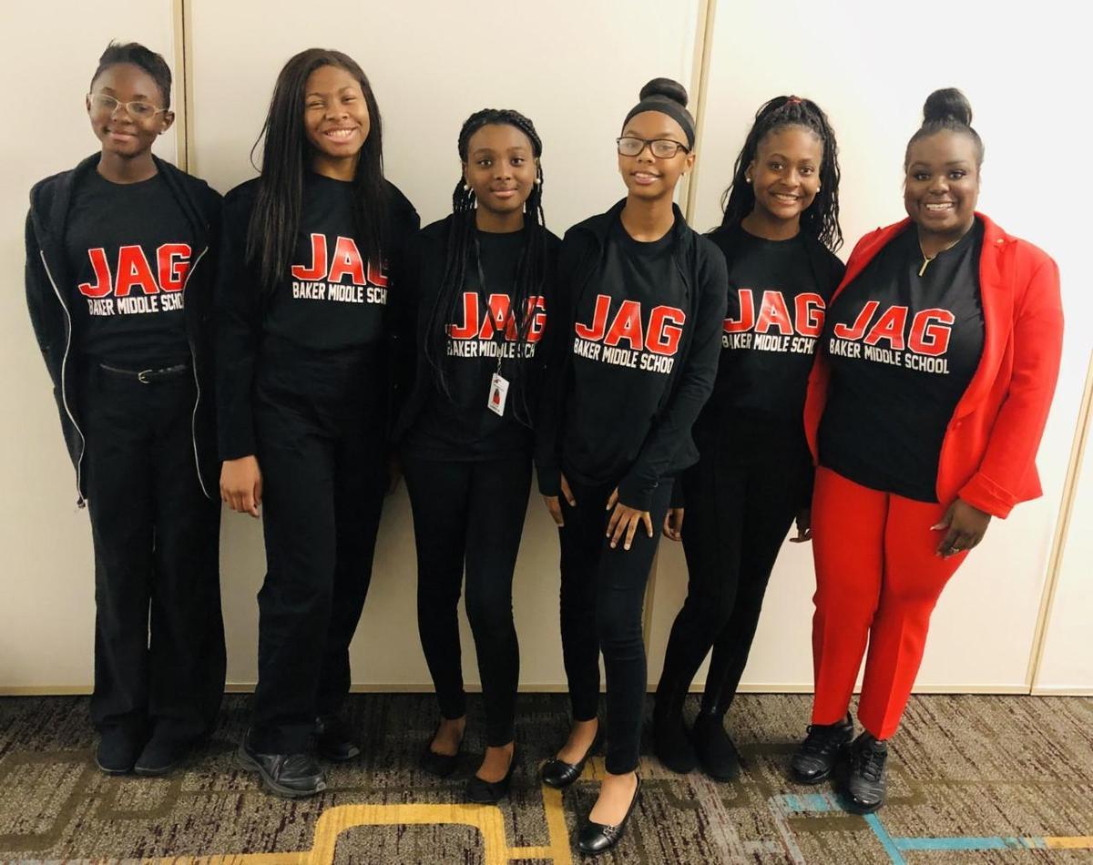 Baker Middle School JAG Officers (Left to right) Lauren Butler, Sarah Evans, Destiny Jones, Eluan Clark, Aaliyah Alexander