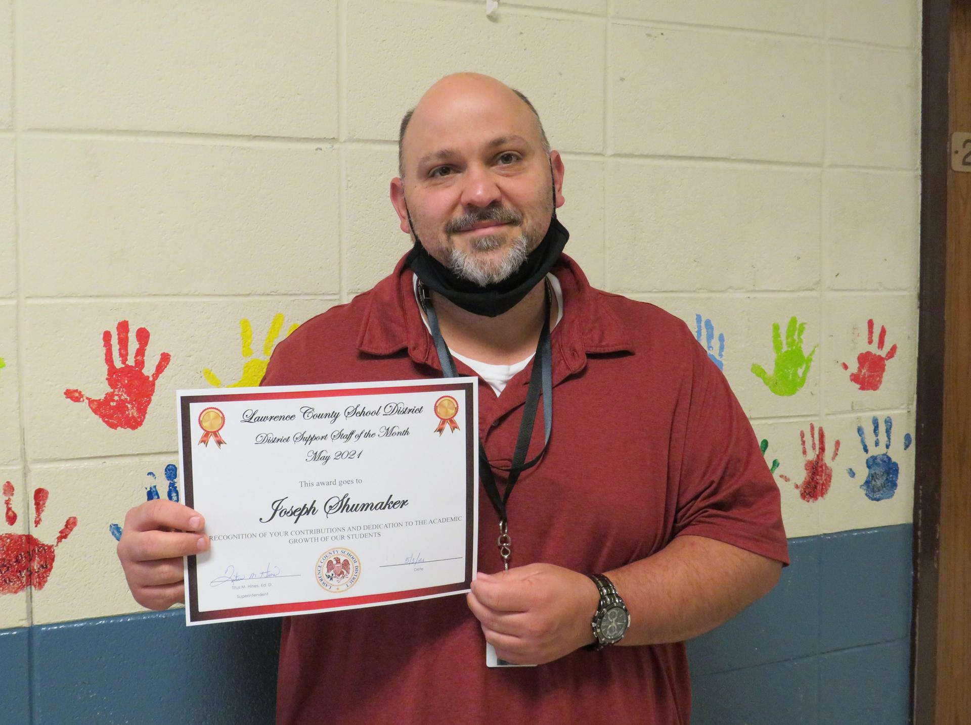 May 2021 Support Staff of the Month Joseph Shumaker