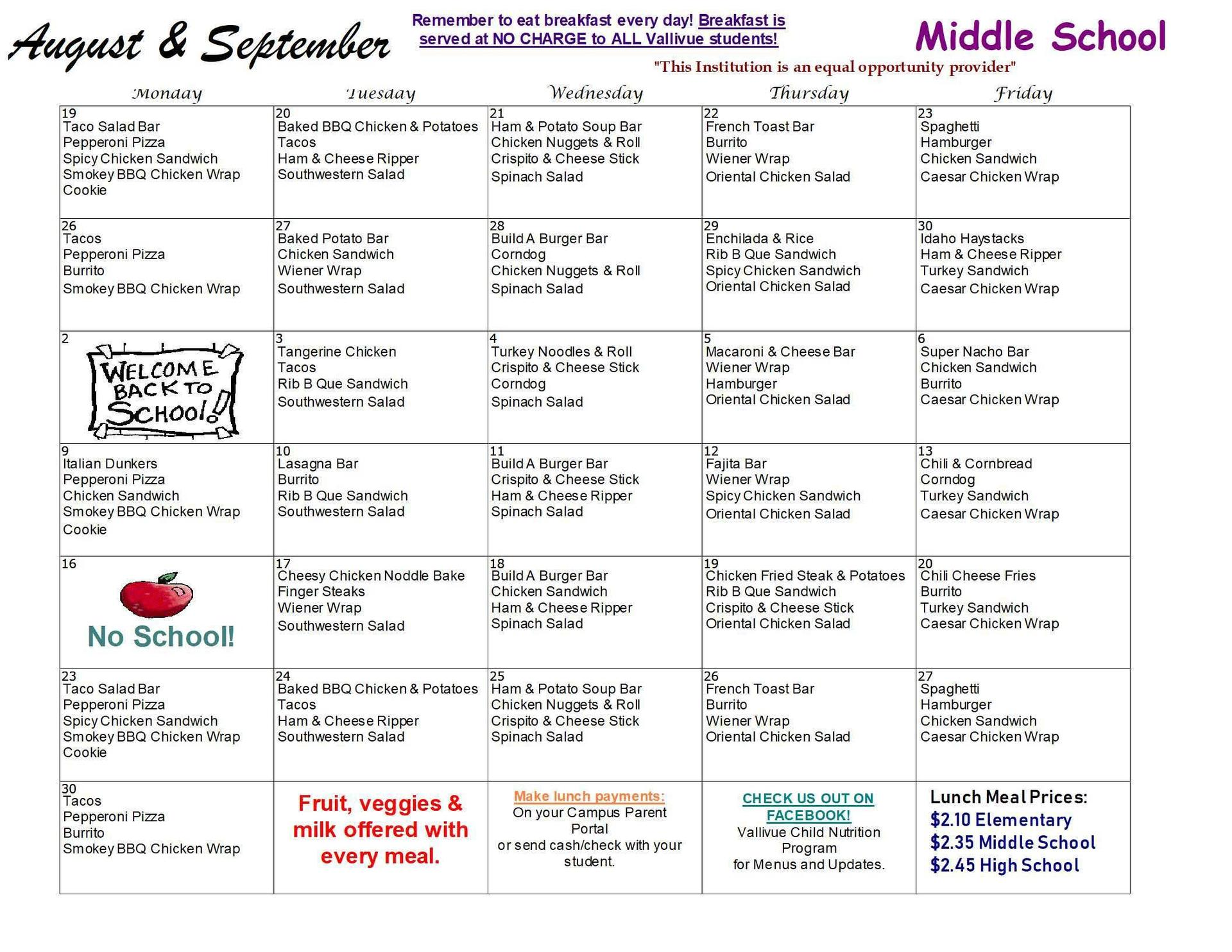 AUGUST/SEPTEMBER MS LUNCH MENU