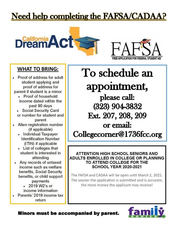 Need Help Completing the FAFSA/CADAA? Featured Photo
