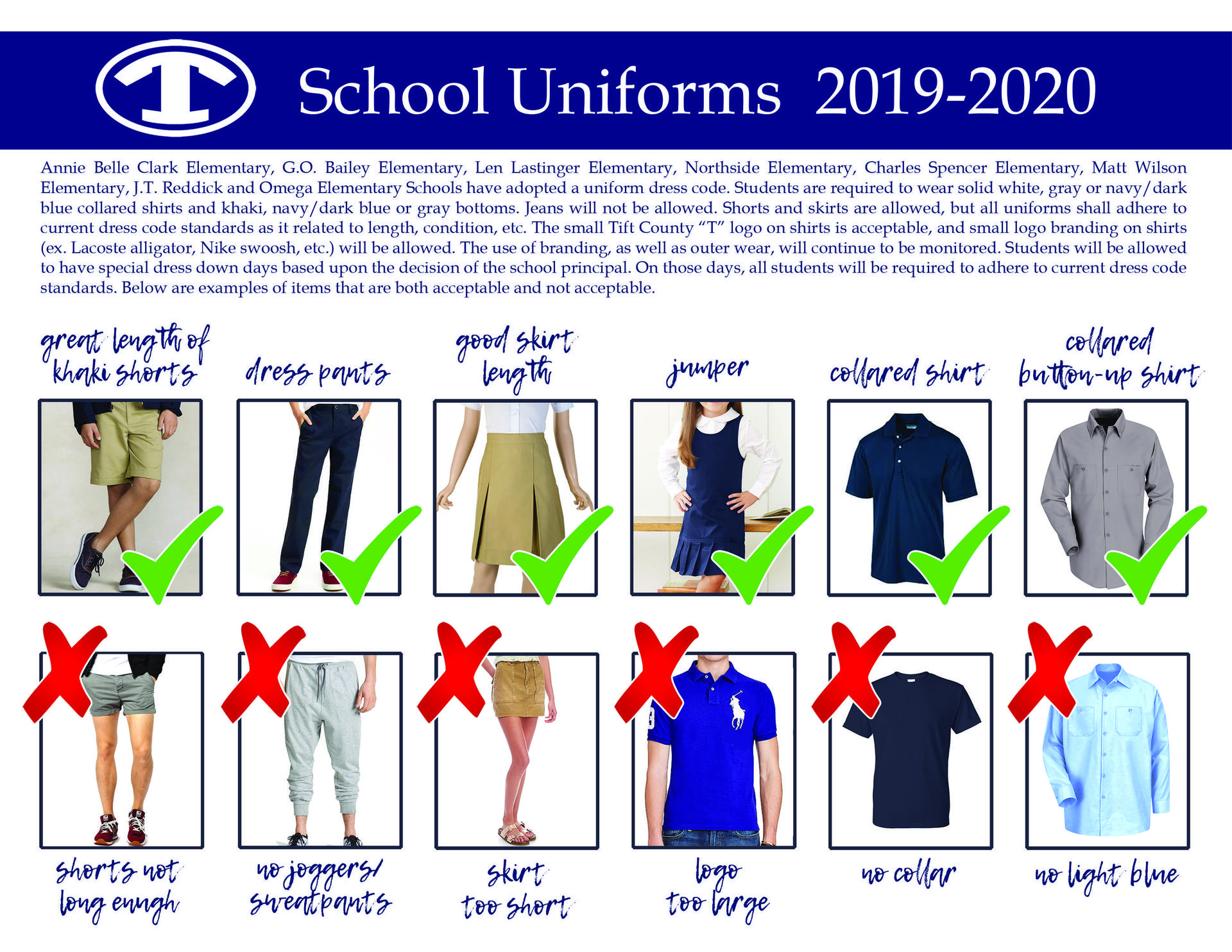 School Uniforms for  2019-2020