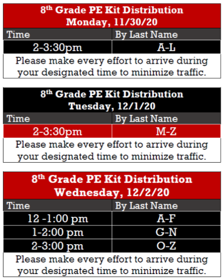 PE kit pick-up schedule