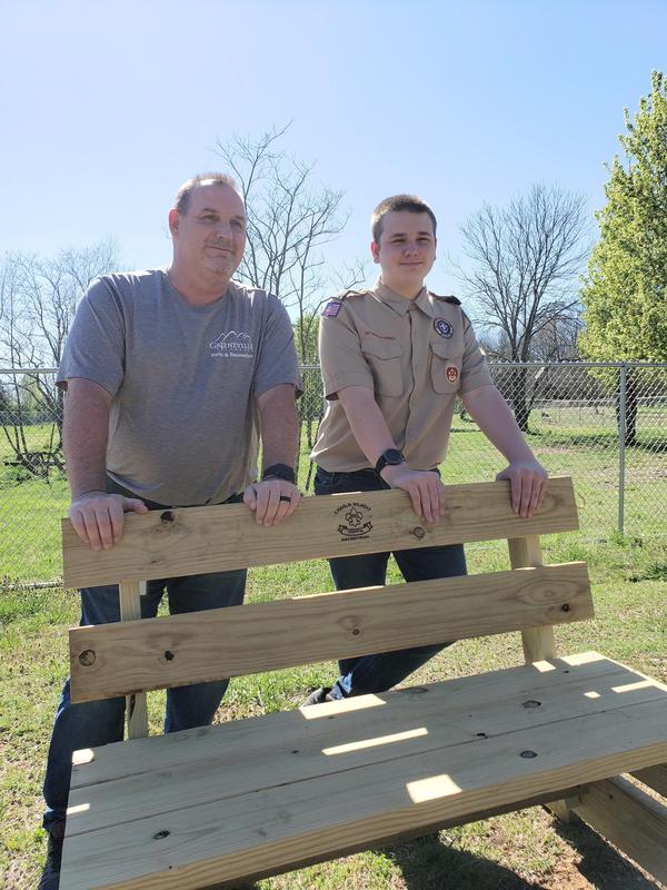 Butch and Charlie with a bench