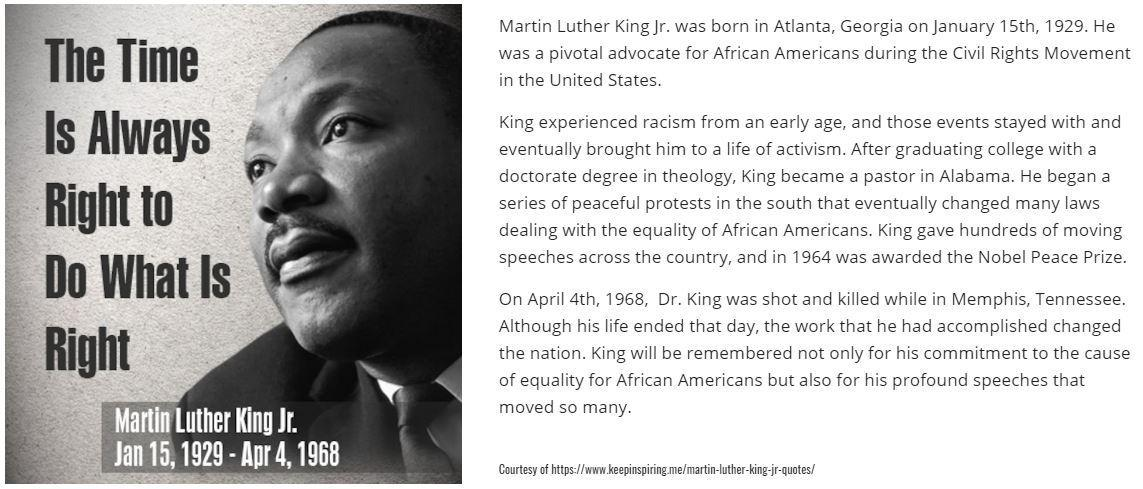 Short story about Martin Luther King, Jr.