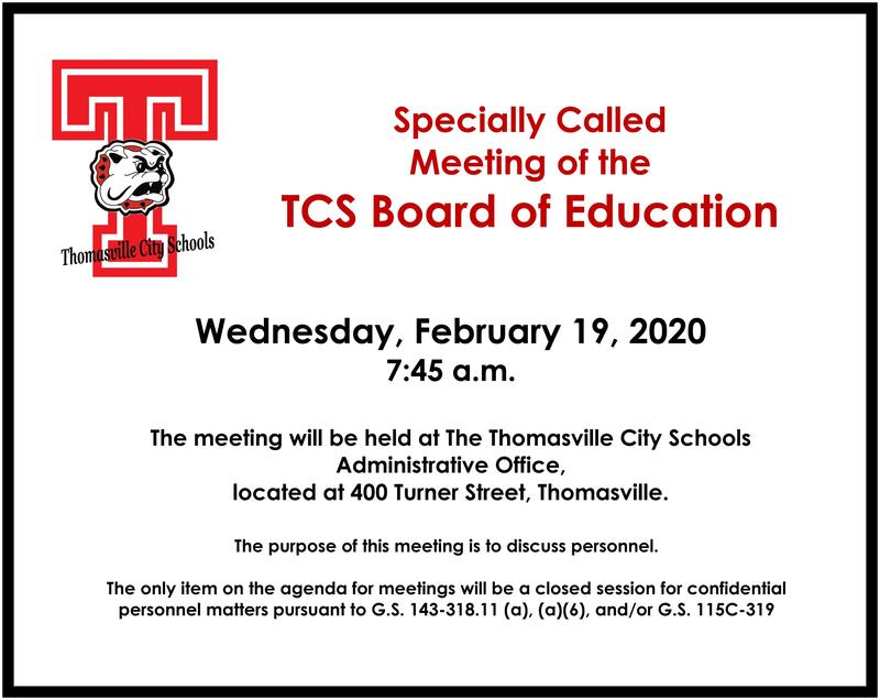 Specially Called Board meeting info
