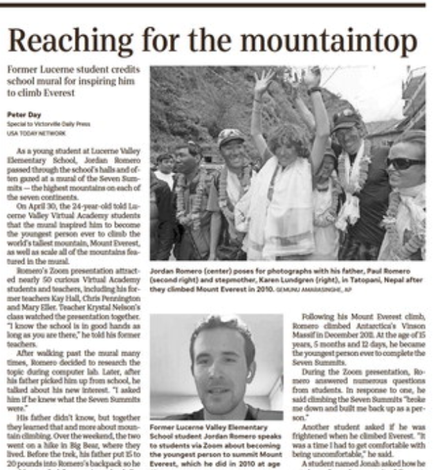 IN THE NEWS: Jordan Romero Reaches For the Mountaintops Featured Photo