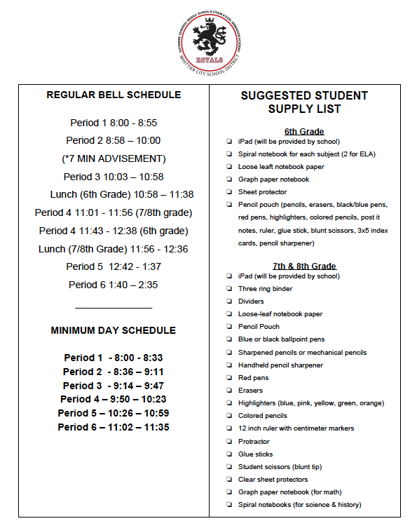 Bell Schedule & Supply List