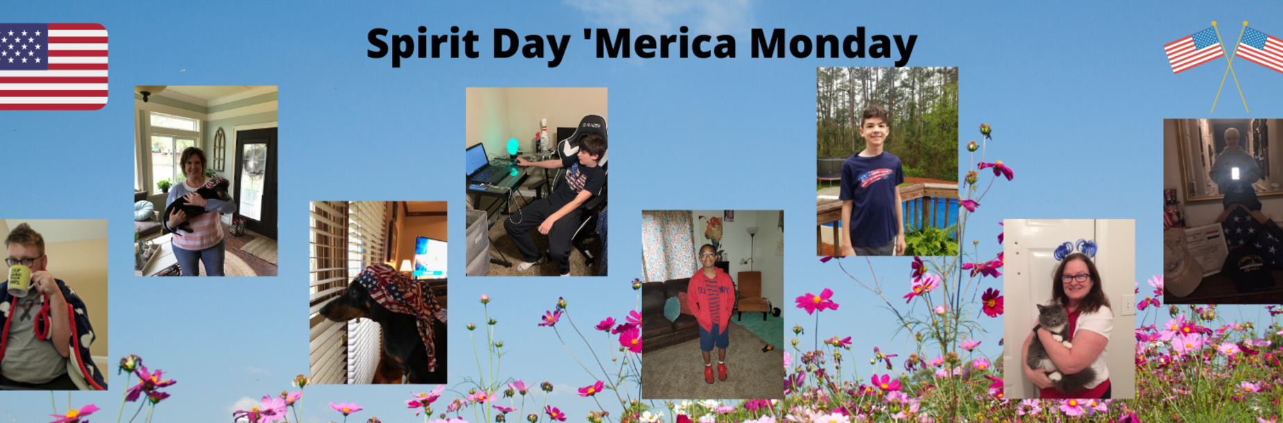 Students and teachers dressed in spirit day colors of red, white and blue