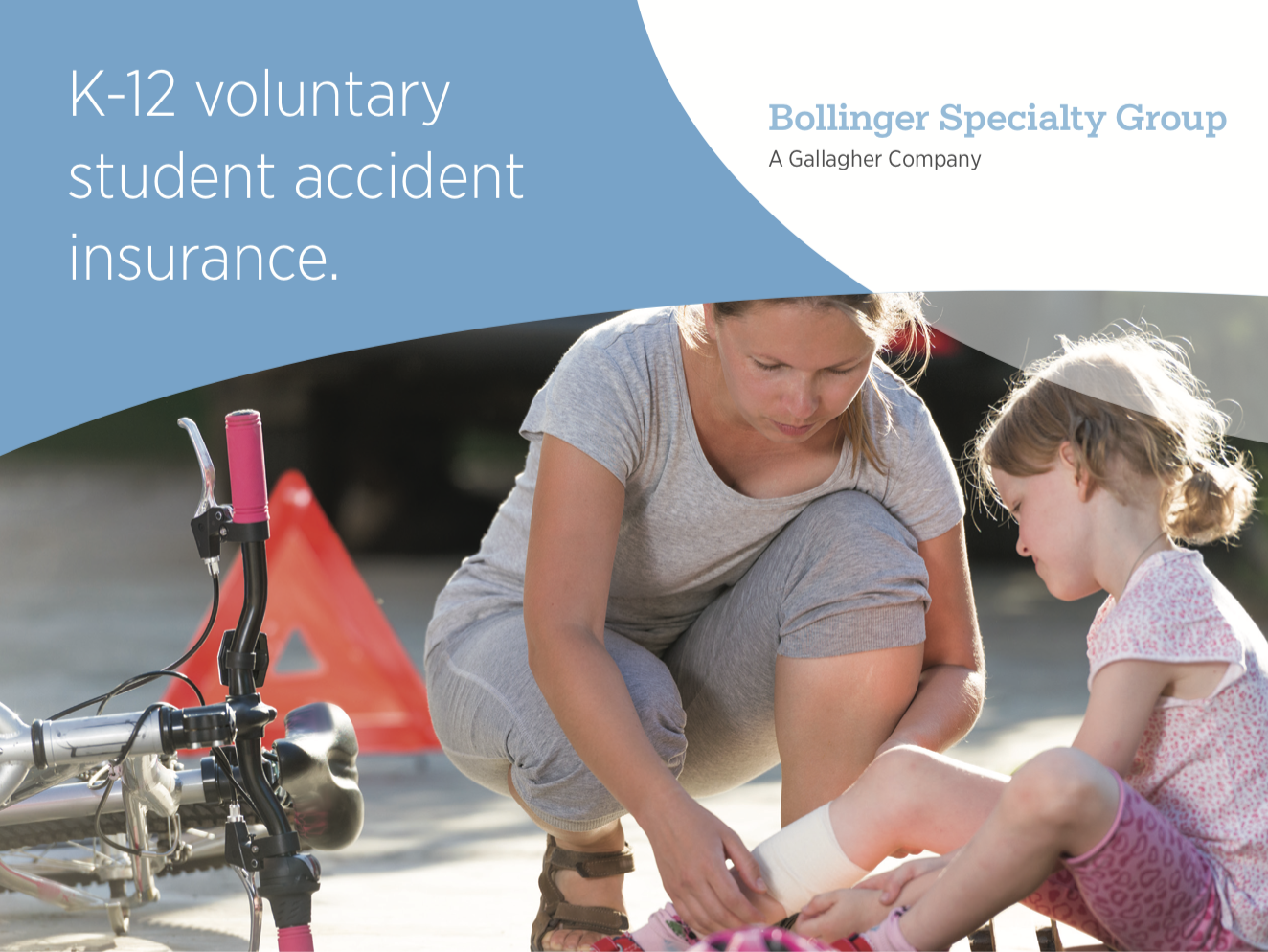 A picture of a parent and a child with the words K-12 voluntary student accident insurance