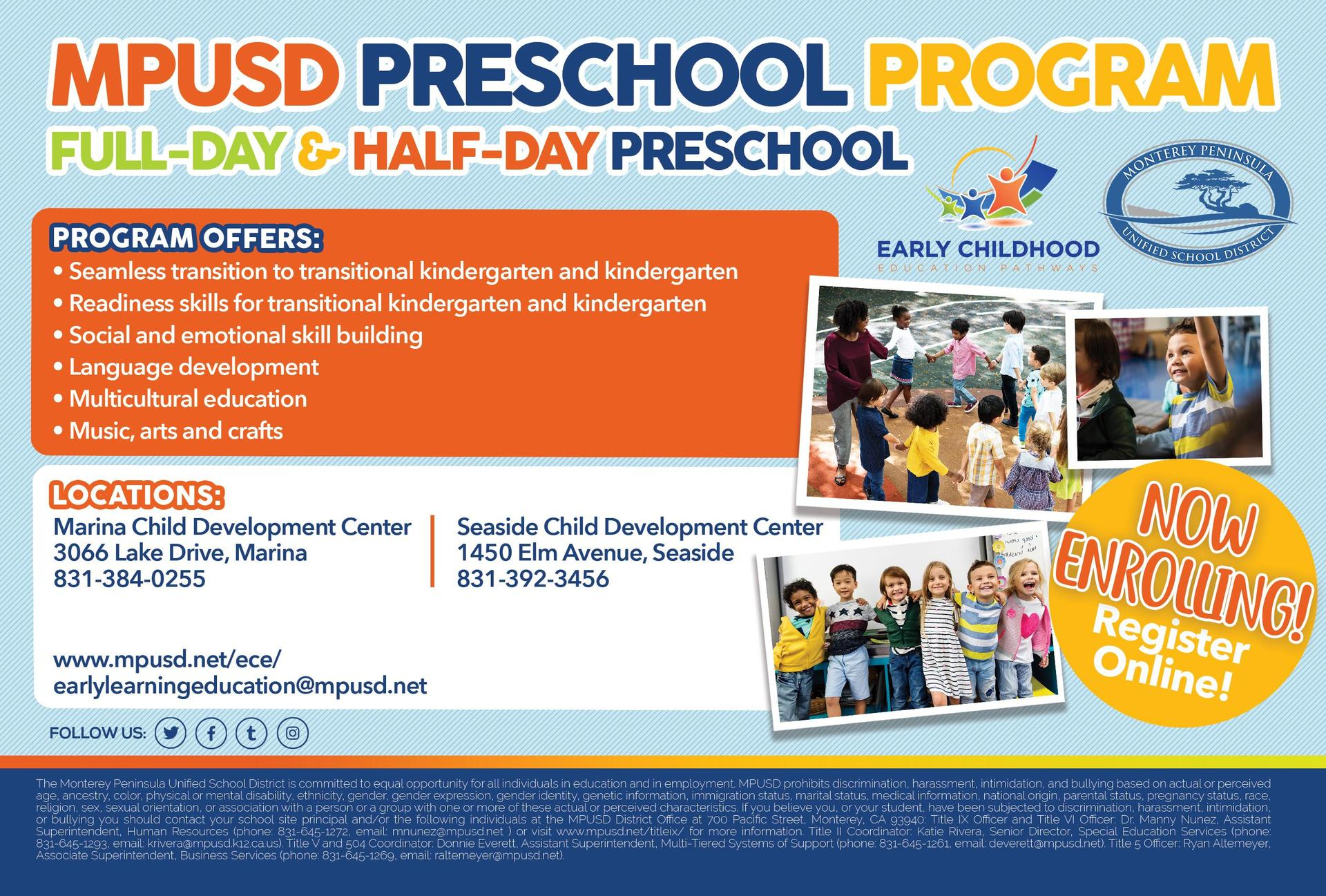 Enroll your child now in MPUSD's Preschool Program