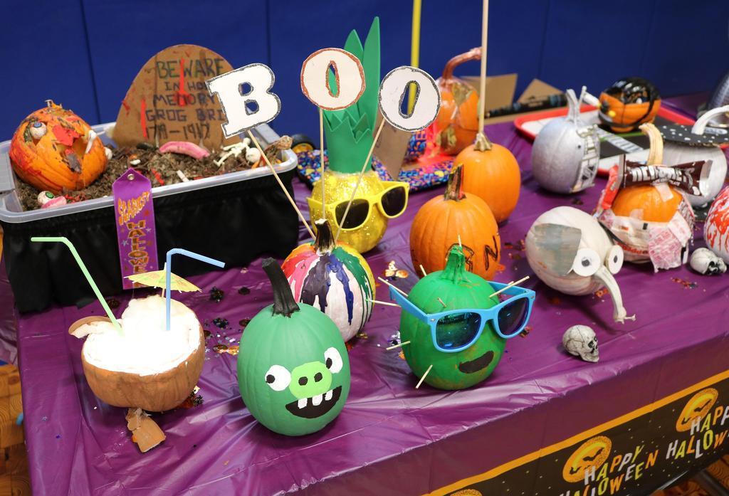 Photo of decorated pumpkins at  Wilson School Pumpkin Patch