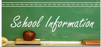 Drawing of chalkboard with the words School Information written on it