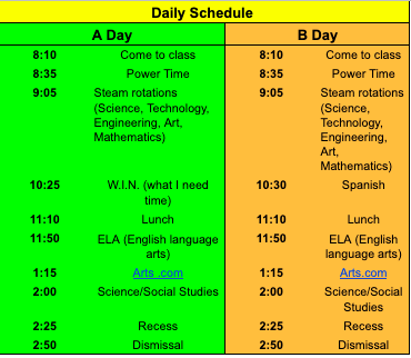 Mrs. Davidson and Mrs. Kauffman's daily schedule