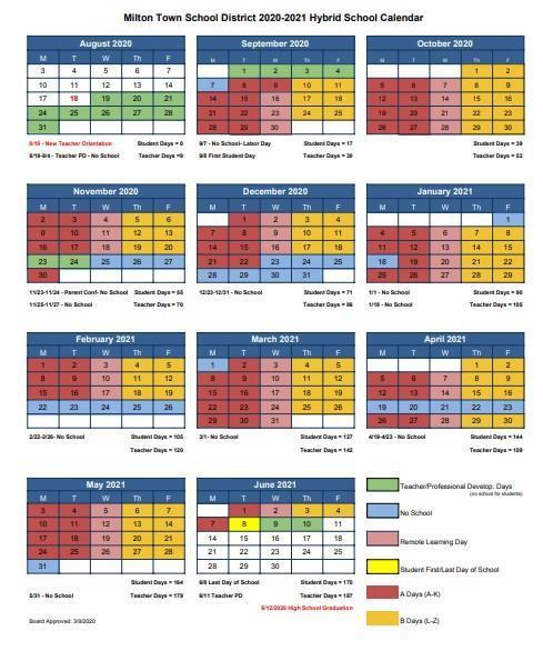 Hybrid 20/21 School Calendar