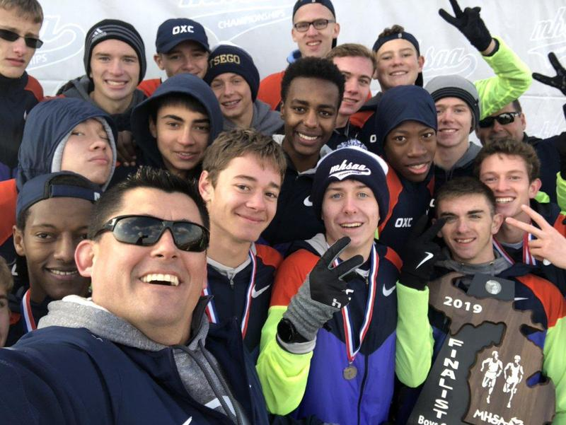 A selfie on the podium at the state xc finals with his boys team