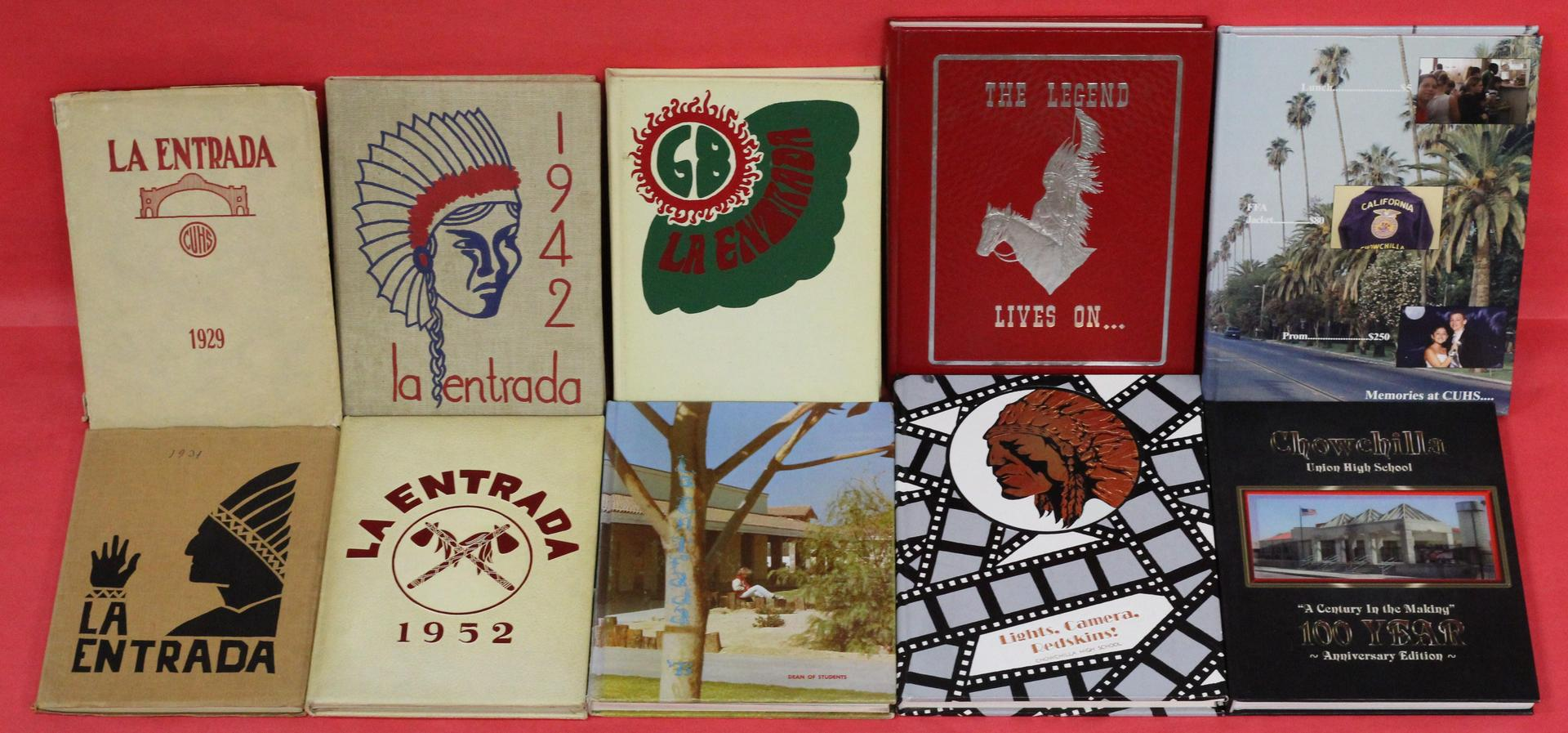 Covers of Yearbooks from 1829, 1931,1942, 1952, 1968, 1978, 1988, 1996, 2003, and 2017 displayed.