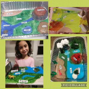 Student holding diorama and other landforms and bodies projects collage