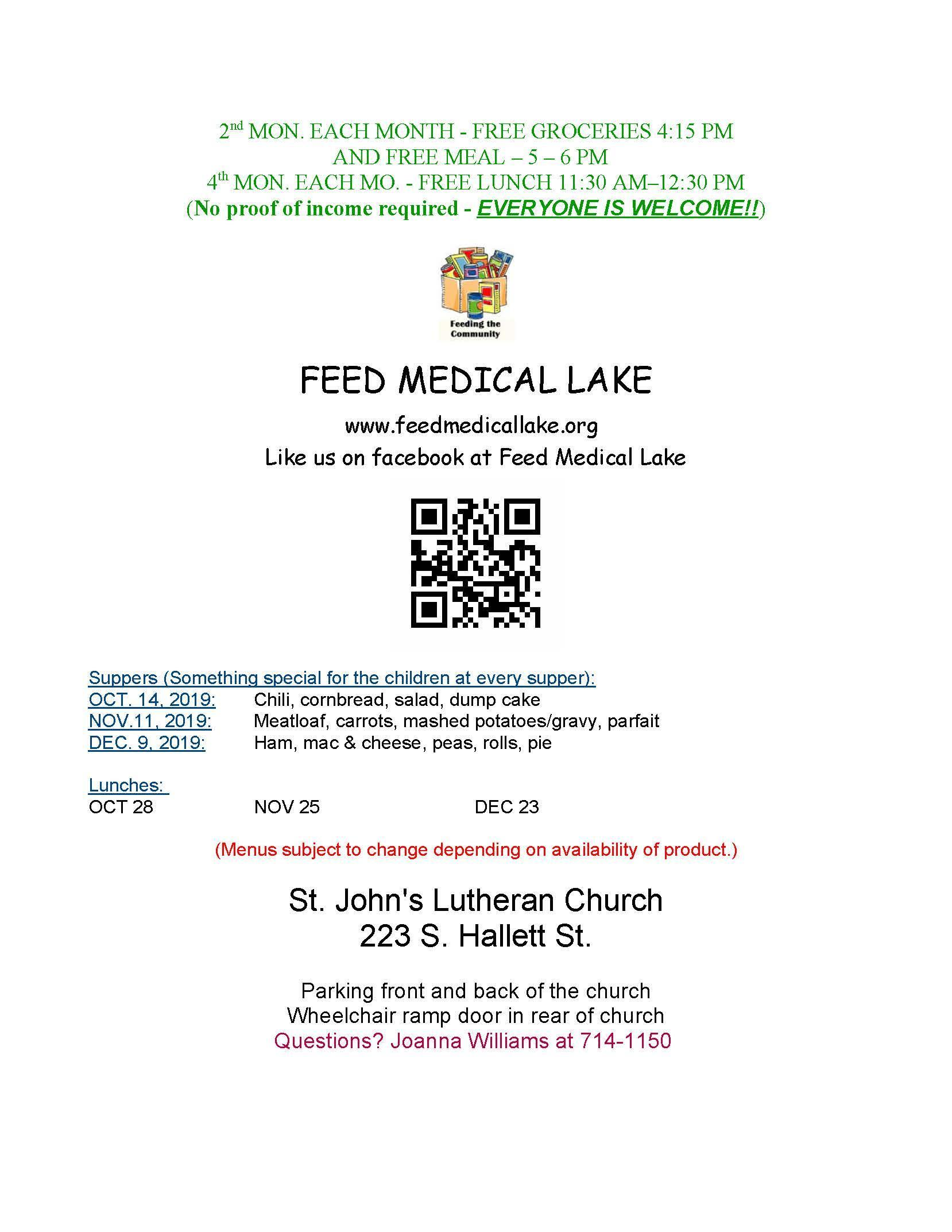 Feed Medical Lake October, November, December