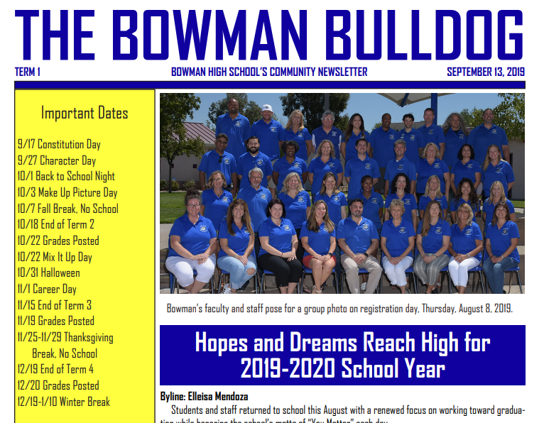 September 2019 Bulldog Newsletter