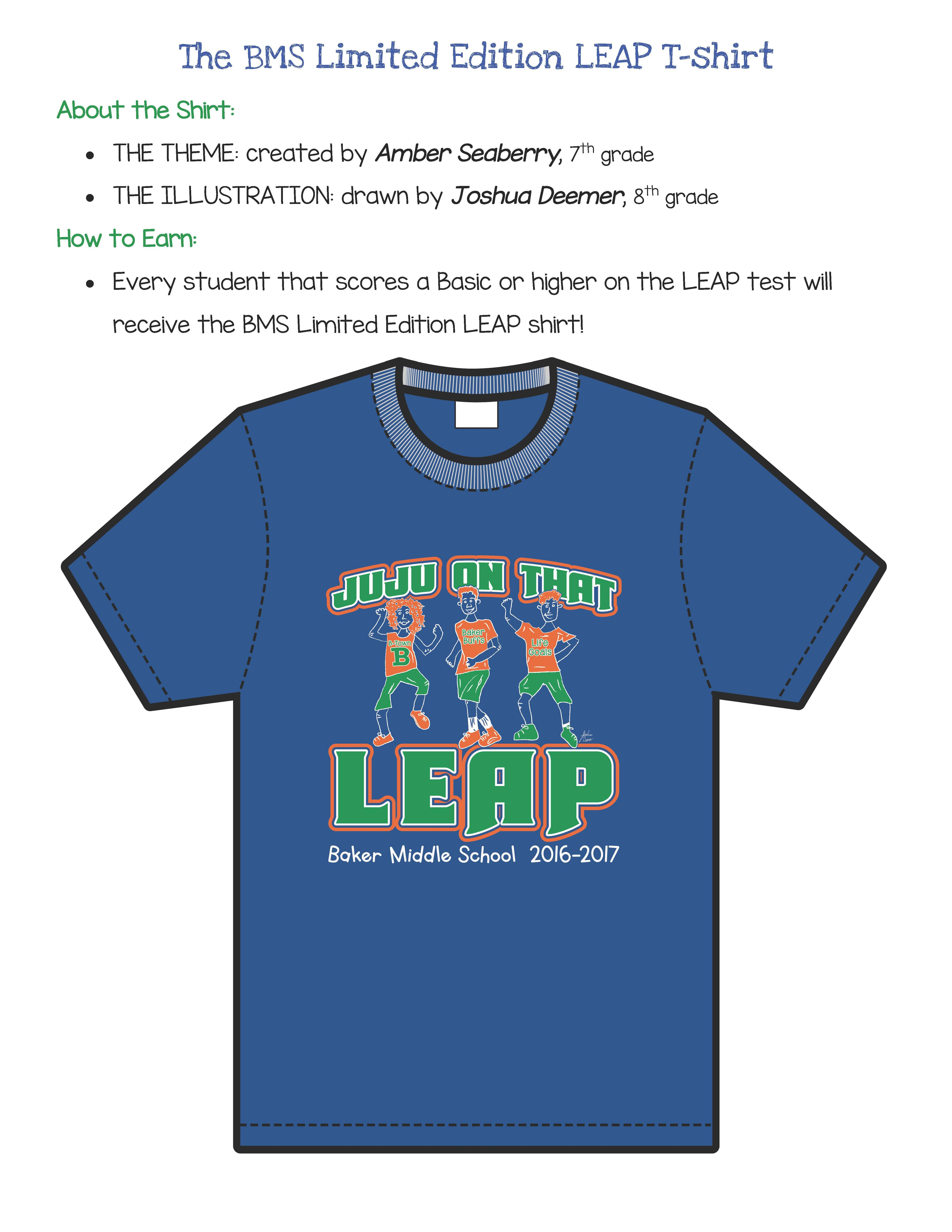 Baker Middle LEAP TShirt Contest Results in Graphic