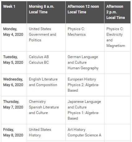 Exam Schedule - Week 1