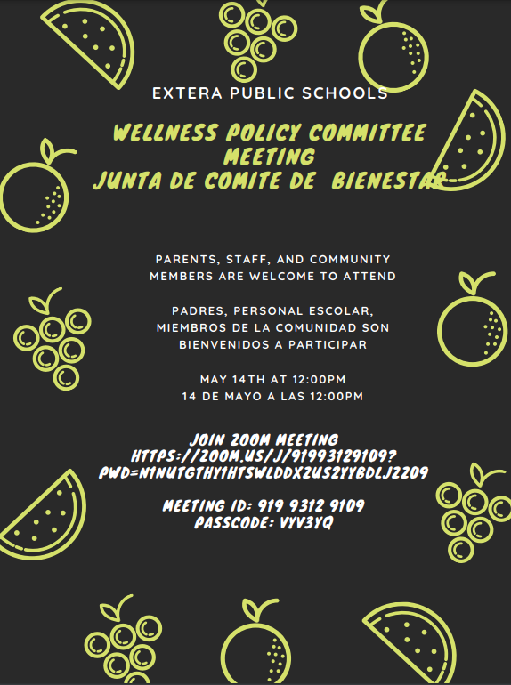 Extera Wellness Policy Committee Meeting - Friday, Mat 14th @ 12pm Featured Photo