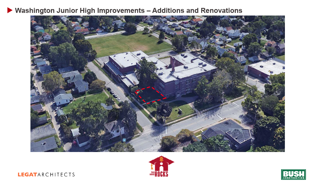 Washington Jr. High design spec aerial view