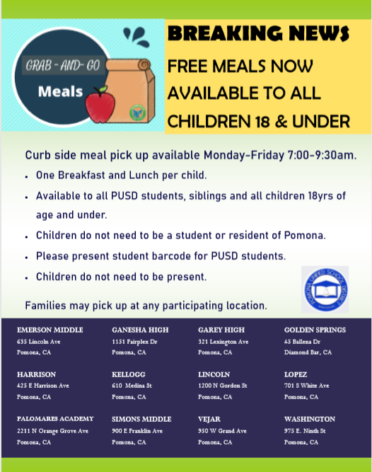 Free meals for pick up at PUSD schools for all children under 18 between 7am-9:30am