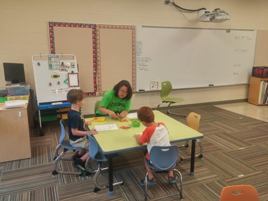 Mrs. Davis with students