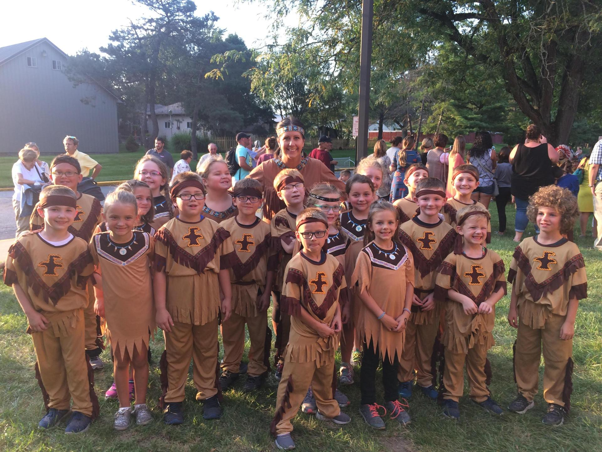 Students dressed as Native Americans.