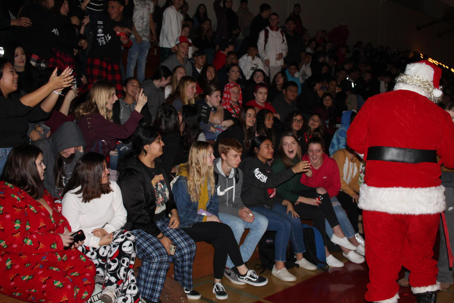 Santa and crowd