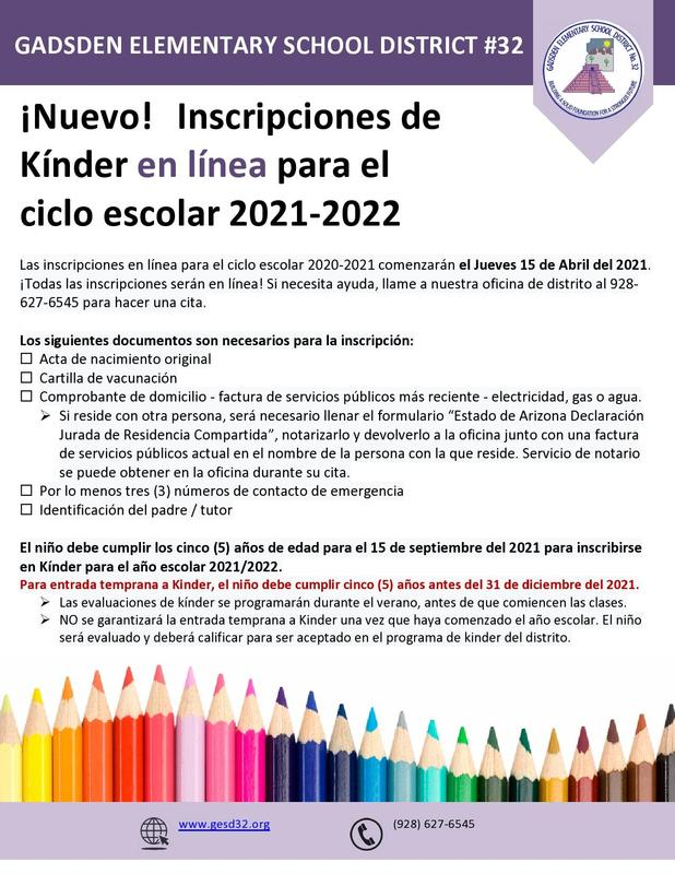 Inscripciones en linea para el año escolar 2021-2022 Featured Photo
