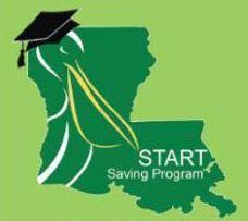 a graphic with the state of Louisiana in green a promoting start saving for college
