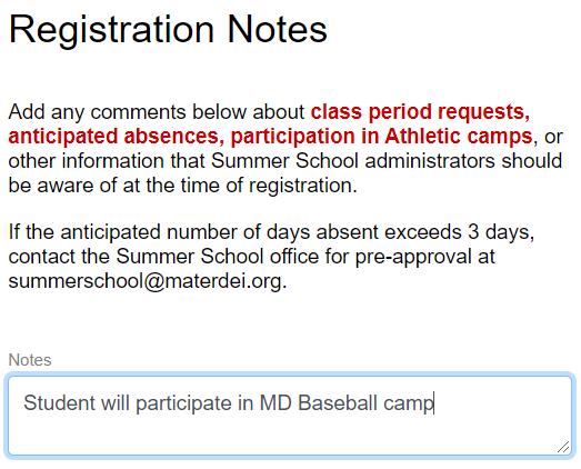 schedule note example