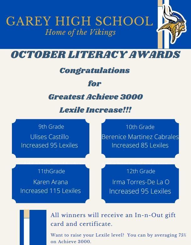 Oct. Literacy Awards