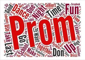 Prom in red letters