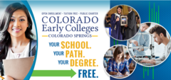 Banner that reads, Earn your degree free with various multi cultural students of different genders studying at school pictured.
