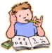 Clipart of a student with grades