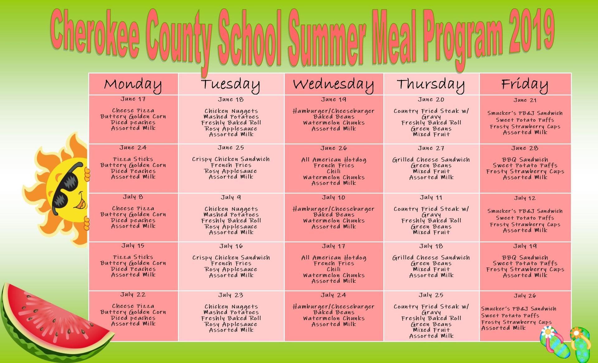 Summer Meals Lunch Menu