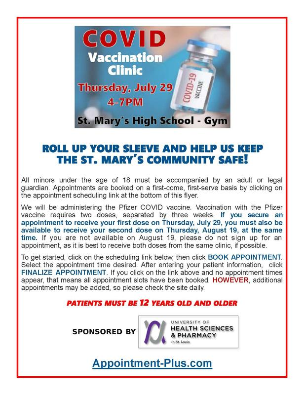 COVID Vaccination Clinic on July 29 from 4-7 pm
