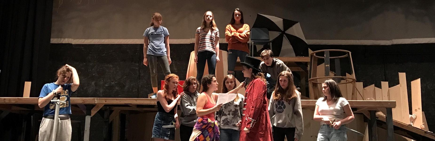 WHS Cast of Fall Production rehearse.