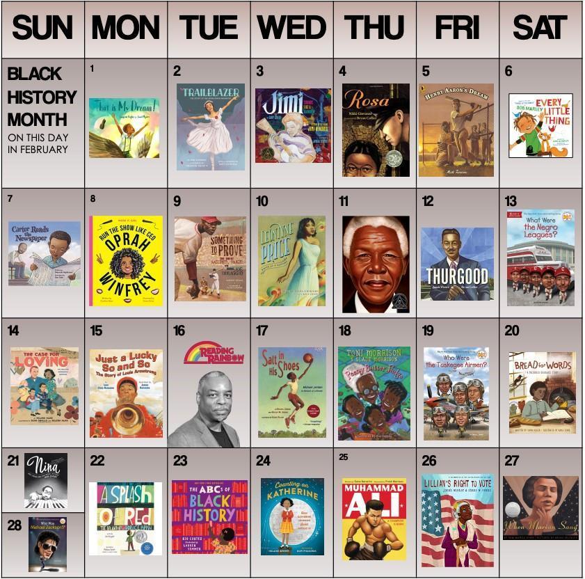 Black History Month Calendar 1
