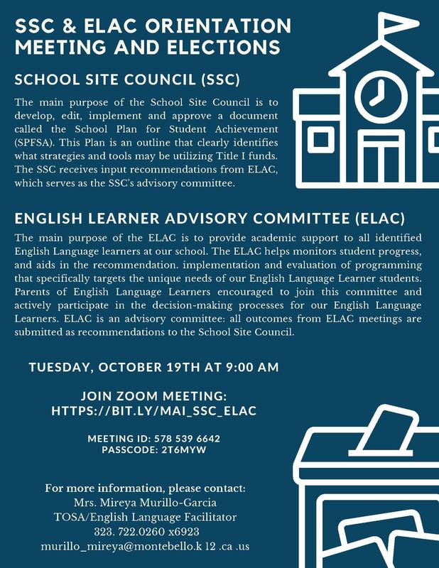 Parent Orientation Meeting and SSC & ELAC Elections Flyer