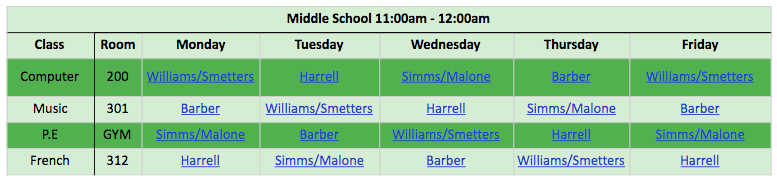 TEAM Middle School Special Schedule