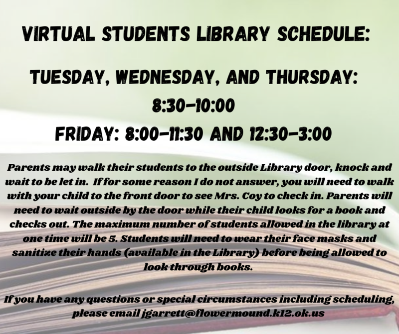 Virtual Student Library Schedule Featured Photo