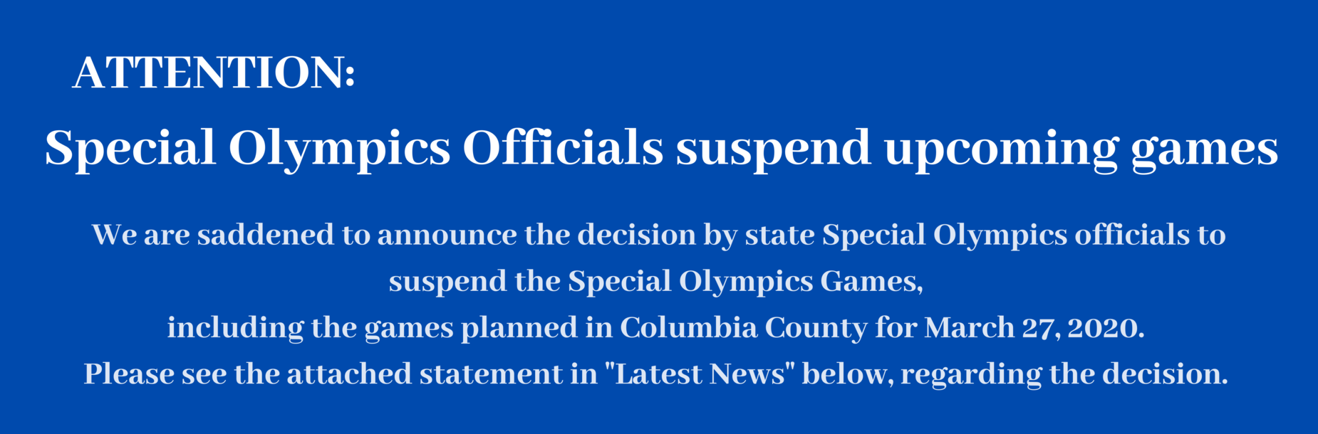 Special Olympics suspended announcement