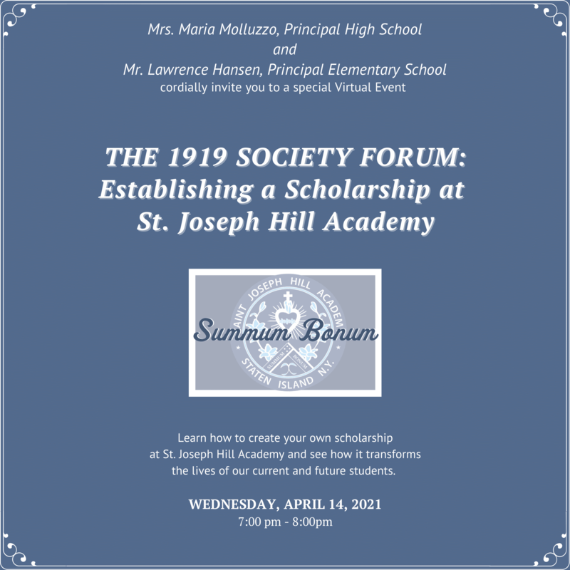 The 1919 Society Forum: Establishing a Scholarship at St. Joseph Hill Academy Featured Photo
