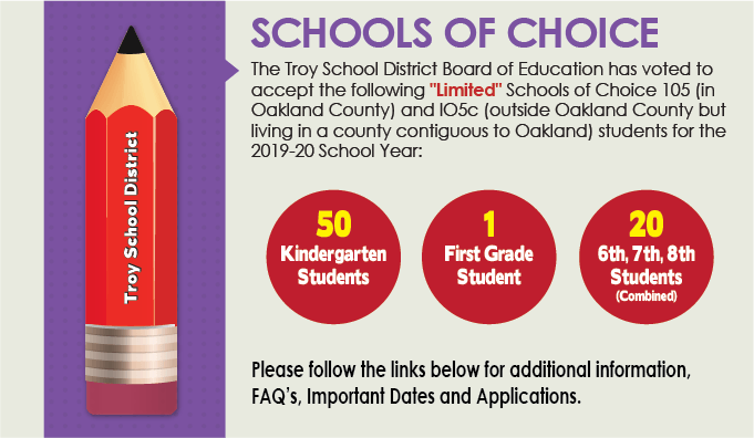 Schools of Choice Button linking to additional guideline information.