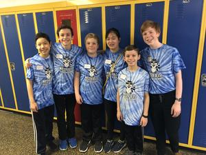 Photo of a team of students who tested their problem-solving skills at a recent regional competition of Odyssey of the Mind.