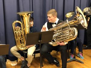 Tuba students with instructor